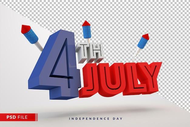 4 luglio giorno dell'indipendenza americana con rendering 3d colorato rosso, blu, bianco e fuochi d'artificio