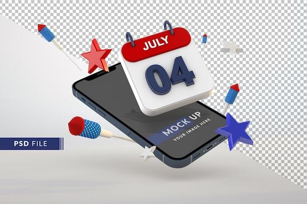 4 luglio giorno dell'indipendenza del calendario con smartphone mockup