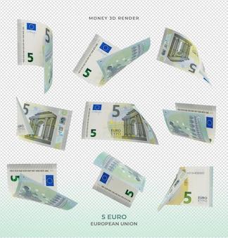 Rendering 3d dei soldi delle banconote da 5 euro