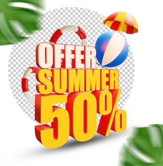 50 per cento estate offerta stile di testo 3d isolato