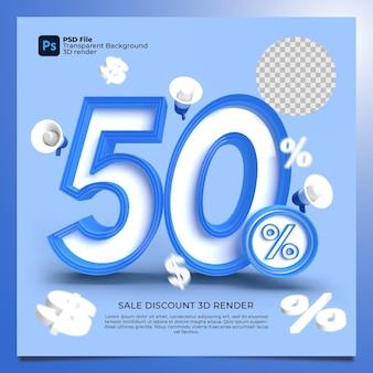 50 percentuale 3d render colori blu con elementi