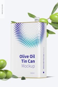 Mockup di lattina rettangolare di olio d'oliva da 500 ml