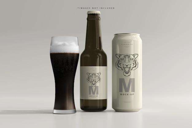 Lattina di birra o soda elegante da 500 ml con bottiglia mockup