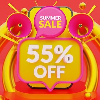 55 percento di sconto sul modello di banner promozionale per i saldi estivi