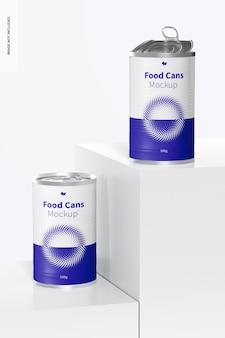 Mockup di lattine per alimenti da 580 g, vista frontale