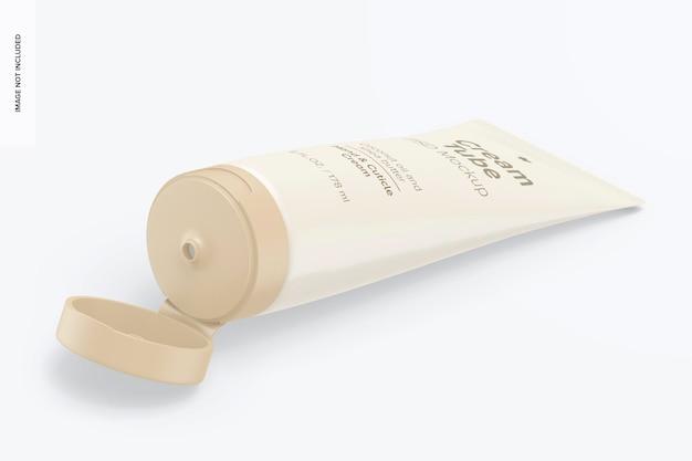 Mockup di tubo crema da 6 once, vista isometrica a destra