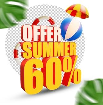 60 per cento estate offerta stile di testo 3d isolato
