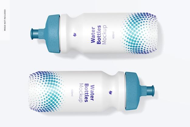 Mockup di bottiglie d'acqua da 600 ml, vista dall'alto