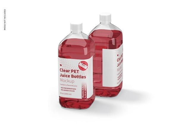 Mockup di bottiglie di succo in pet trasparente da 64 once