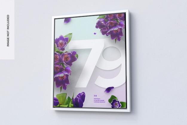 7: 9 mockup di fotogramma verticale nella vista destra