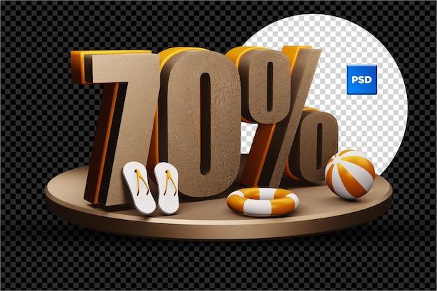 Distintivo di sconto vendita estate 3d del 70% isolato