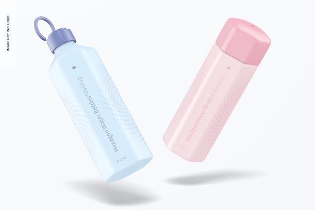 Mockup di bottiglie d'acqua esagonali da 700 ml, che cadono