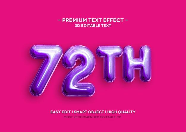 72 th modello effetto testo 3d