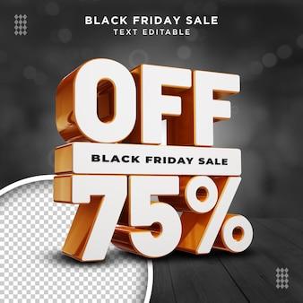 Modello psd di sfondo trasparente per la vendita del venerdì nero del 75% di sconto