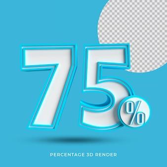 Il 75 percento 3d rende il colore blu