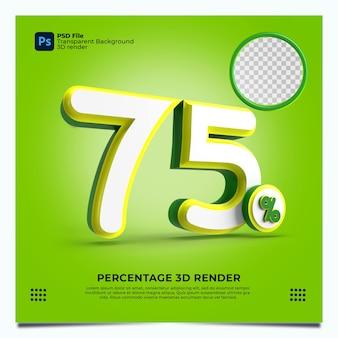 75 percentuale 3d render colori verdegiallo bianco con elementi
