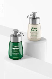 Bottiglie di vetro da 8,4 once con modello di pompa, prospettiva
