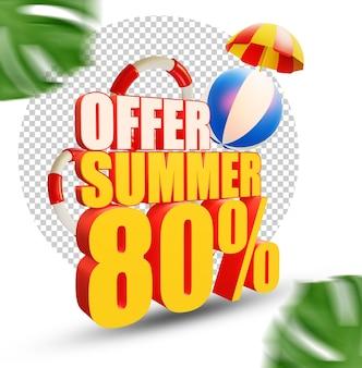 80 percento estate offerta stile di testo 3d isolato