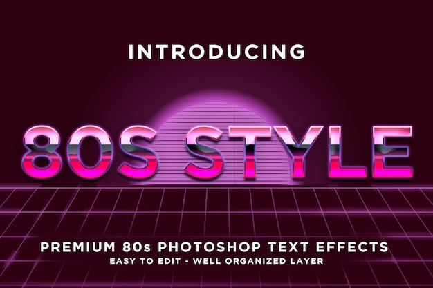 Modelli di effetti di testo stile rosa anni '80 Psd Premium