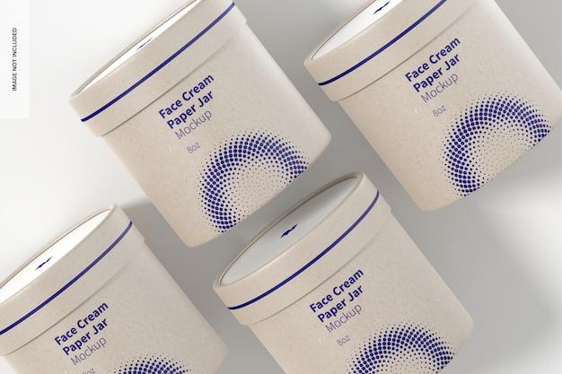 Mockup di barattoli di carta per crema per il viso da 8 once