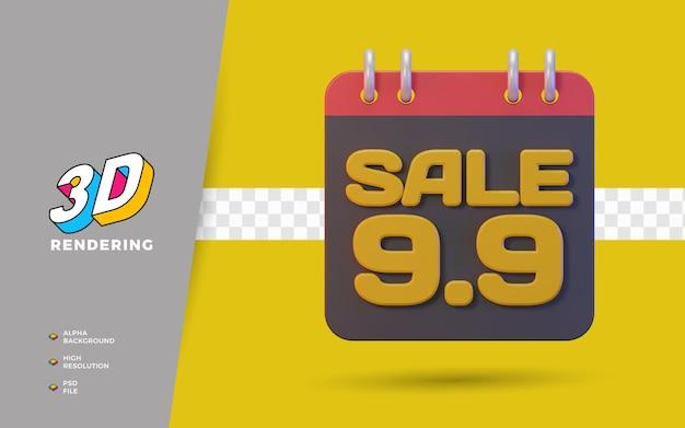 9.9 giorno dello shopping sconto vendita promozione oggetto di rendering 3d