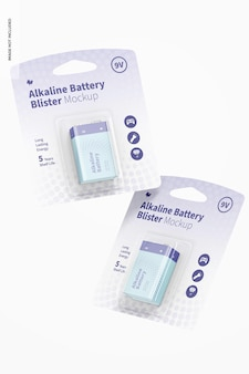 Mockup di blister per batterie alcaline da 9 v