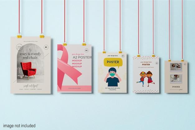Mockup di poster da appendere a1 a2 a3 a4 a5