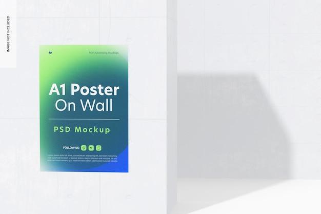 Poster a1 su parete mockup, prospettiva