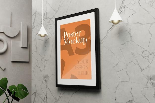 Mockup di poster a3 sulla parete di marmo