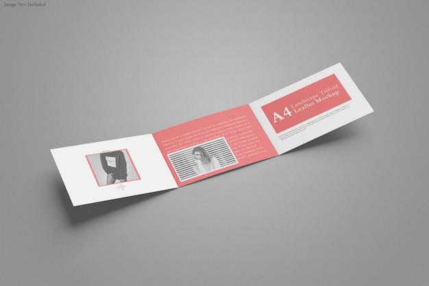 A4 brochure design a tre ante mockup del paesaggio isolato