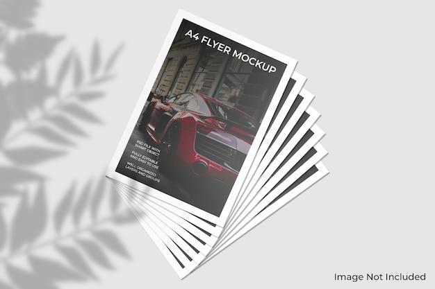 Mockup di brochure volantino a4 con ombra foglia