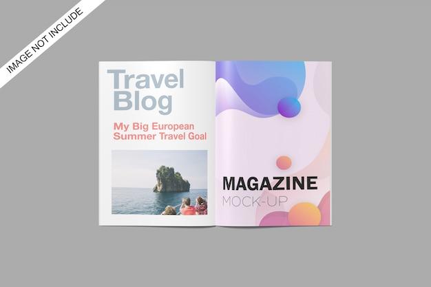 A4 magazine mockup vista dall'alto angolo premium psd