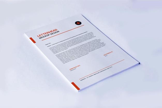 Rendering di mockup di carta intestata pagina a4 isolato