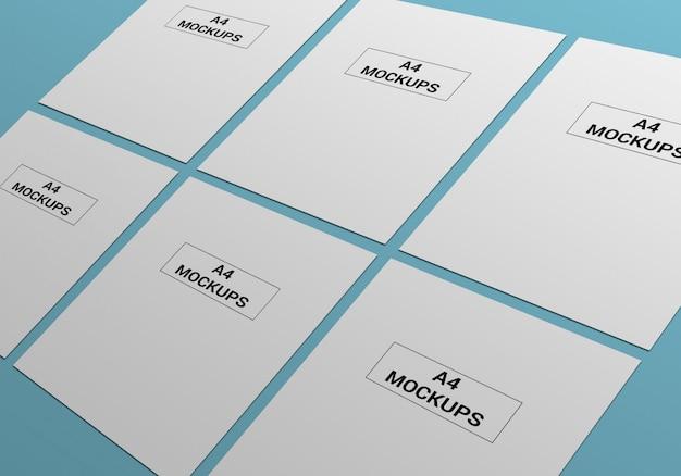 Mockup di pagine a4 per volantini, fatture, carta intestata e altri