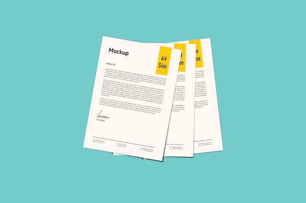 A4 pagina tre mockup di carta