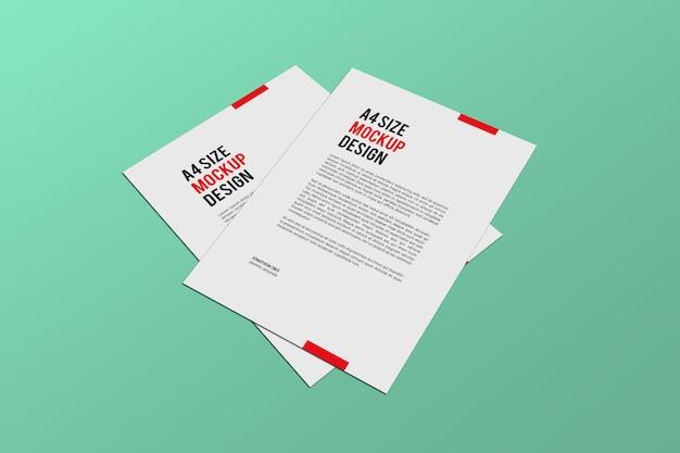 Rendering di progettazione di mockup di pagine a4