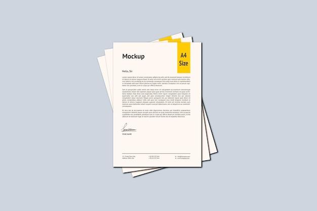 A4 paper mockup design rendering isolato