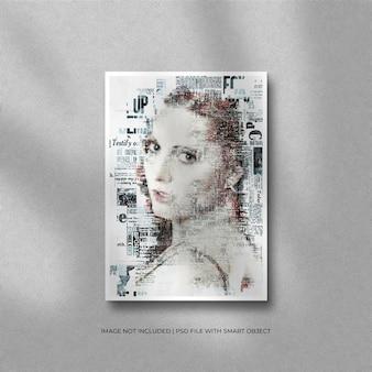 Carta a4 o modello di foto con cornice di carta verticale