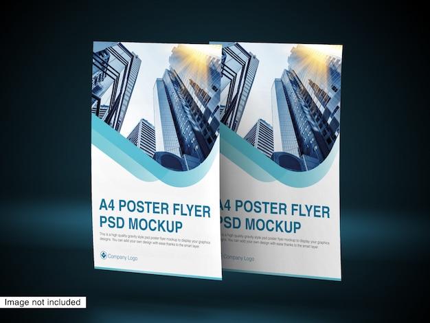 Mockup psd volantino poster a4