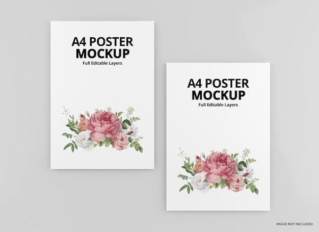 A4 poster mockup design rendering isolato