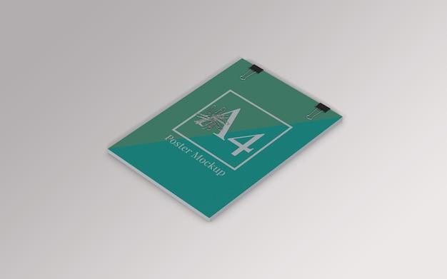 Mockup di poster a4 con clip legante e graffetta vista a destra