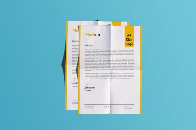 A4 realistic fold paper mockup design rendering isolato