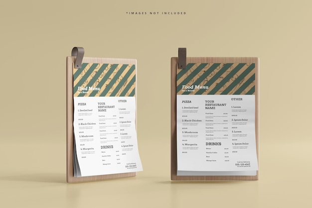 Menu di cibo in formato a4 su un modello di tavola di legno