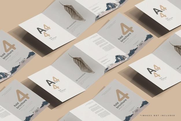Mockup di brochure a quattro pieghe formato a4