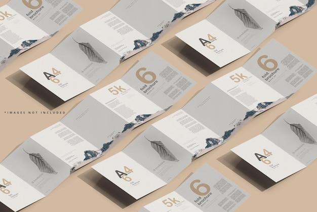 Mockup di brochure a sei pieghe formato a4