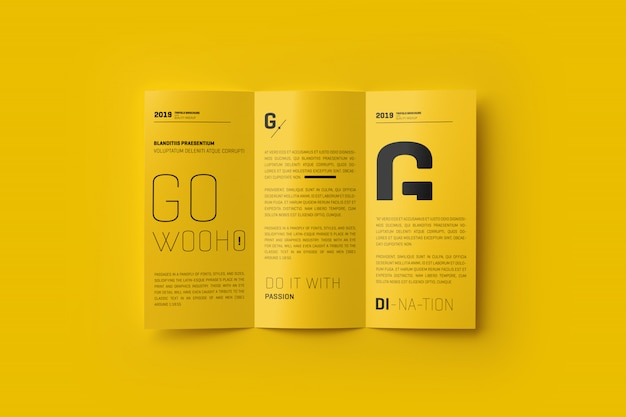 Brochure a4 trifold mockup Psd Premium