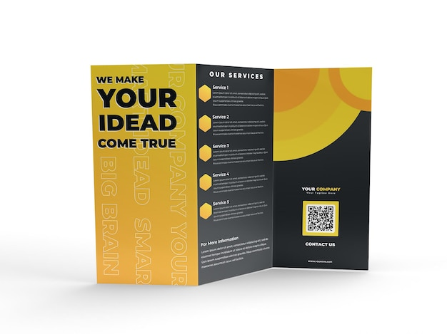 Mockup di volantino per brochure realistica a tre ante a4 per il profilo aziendale pubblicitario e l'identità del marchio