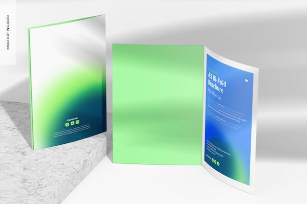 Mockup di brochure pieghevoli in formato a5, prospettiva