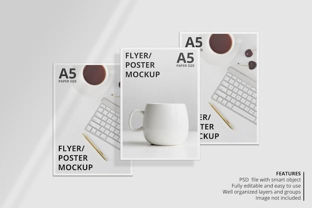Modello di brochure flyer a5 con sovrapposizione di ombre