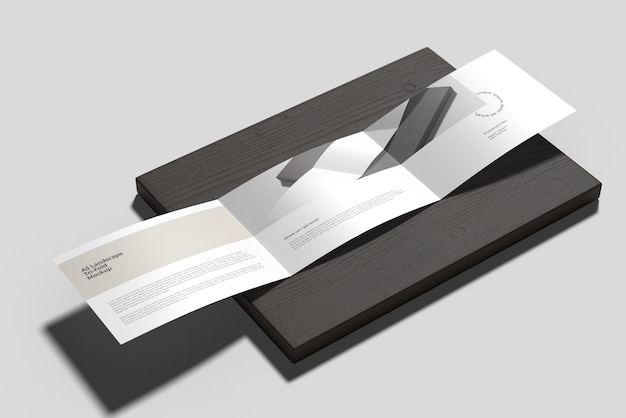 A5 landscape trifold brochure mockup on the wood